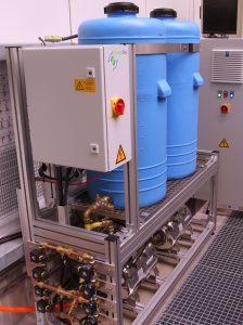 Growscreen Rhizo fertiliser supply tanks and distribution system