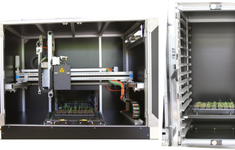 Lemnatec PhenoCenter with xyz-motorized axis for camera positioning (left) and storage shelves for trays that can be moved in and out automatically (right)
