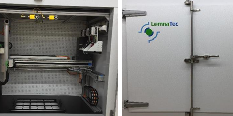 LemnaTec PhenoCenter(left) inside a climate chamber (right) at the Washington State University, USA.