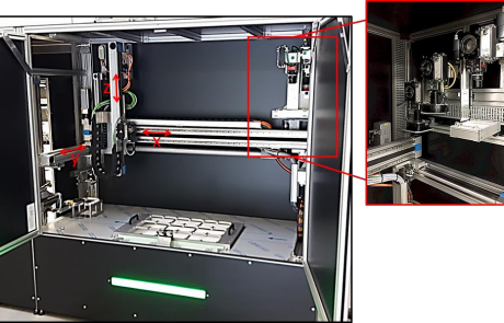 The LemnaTec PhenoCenter showing x, y, and z axis movement and close-up image of cameras on camera mounts.